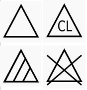 Das Dreieck steht für die Behandlung mit Bleichstoffen