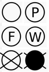Die Buchstaben geben Informationen für die chemische Reinigung