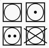 Der Kreis im Viereck zeigt Dir die Trocknereinstellungen an
