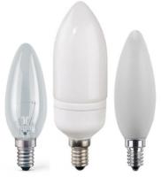 Kerzen im Vergleich - Glühbirne, Energiesparlampe und LED-Lampe
